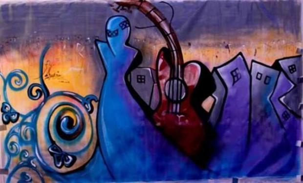 Shamsia Hassani, 'Sound Central Festival', Kabul, 2013. Dokumentasi pribadi seniman.