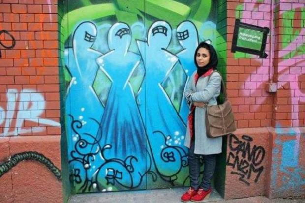 Shamsia Hassani, 'Rote Fabrik', Swiss, 2013. Dokumentasi pribadi seniman.