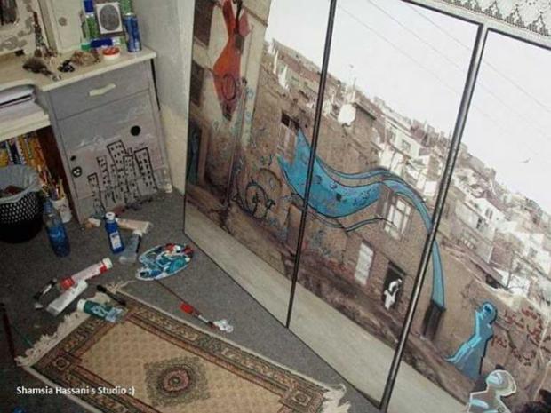 Shamsia Hassani, 'Dreaming Graffiti di studionya,' Kabul. Dokumentasi pribadi seniman.